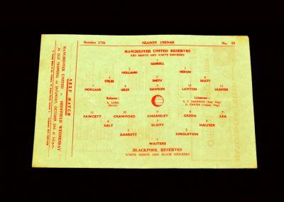 Man Utd Reserves v Blackpool Reserves 17.10.1959