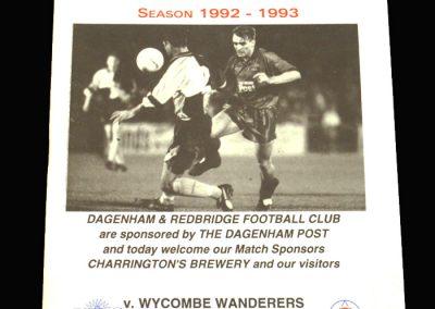 Wycombe v Dagenham & Redbridge 09.03.1993 - James C Thompson Shield Semi Final 2nd Leg