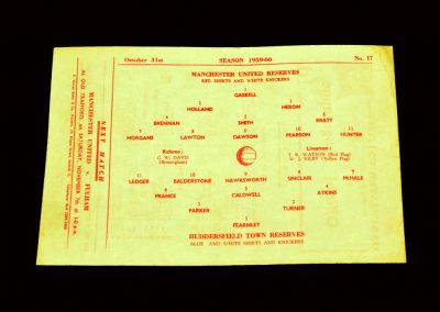 Man Utd Reserves v Huddersfield Reserves 31.10.1959