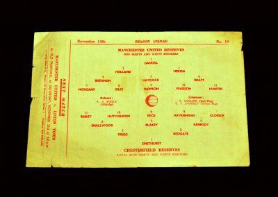 Man Utd Reserves v Chesterfield Reserves 14.11.1959
