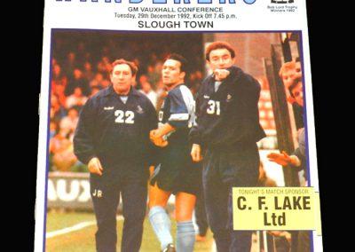 Wycombe v Slough 29.12.1992 (postponed)