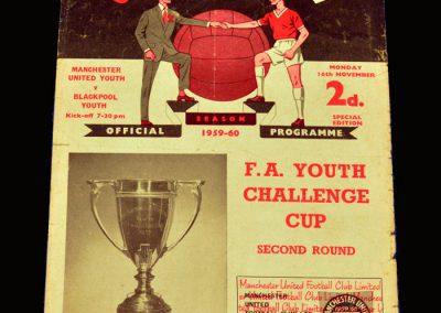 Man Utd Youth v Blackpool Youth 16.11.1959