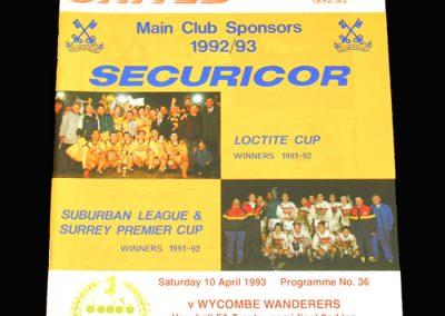 Wycombe v Sutton 10.04.1993 - FA Trophy Semi Final 2nd Leg