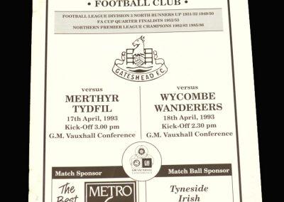 Wycombe v Gateshead 18.04.1993