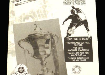 Wycombe v Northwich Victoria 20.04.1993 - James C Thompson Shield Final 1st Leg
