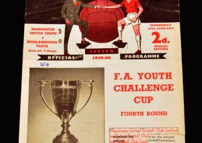 Man Utd Youth v Middlesbrough Youth 27.01.1960