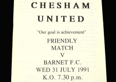 Barnet v Chesham 31.07.1991 (Friendly)