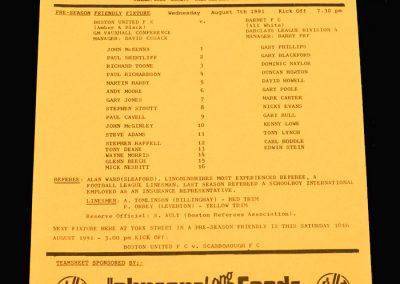 Barnet v Boston 07.08.1991 (Friendly)