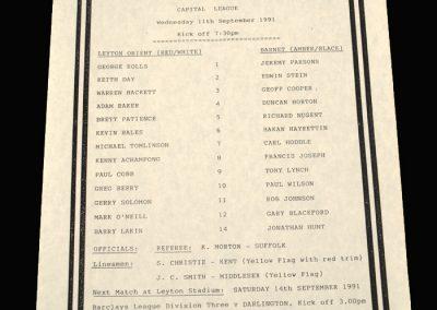 Barnet Reserves v Leyton Orient Reserves 11.09.1991