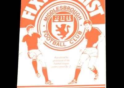 Middlesbrough Fixture List 1982-83 Season