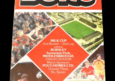 Middlesbrough v Burnley 26.10.1982 - League Cup 2nd Round 2nd Leg