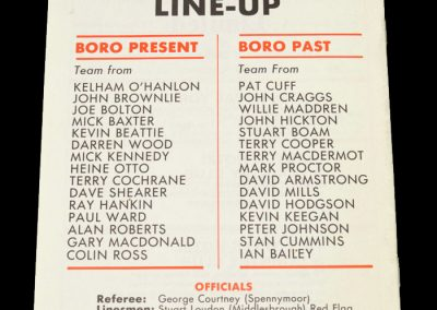 Middlesbrough Present v Middlesbrough Past 16.11.1982 - John Craggs Testimonial