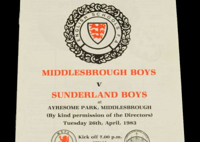 Middlesbrough Boys v Sunderland Boys 26.04.1983 - Schools Cup Final