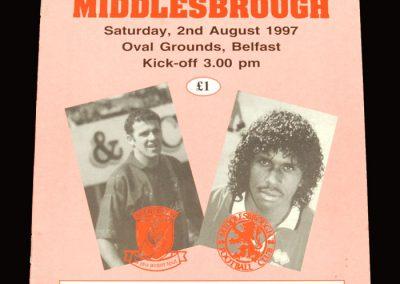 Middlesbrough v Glentoran 02.08.1997 - Friendly