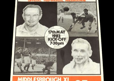 Middlesbrough 11 v England 11 17.05.1983 - Wilf Mannion and George Hardwick Testimonial