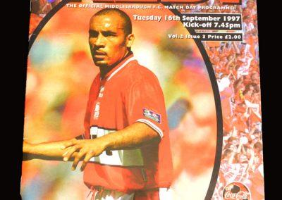 Middlesbrough v Barnet 16.09.1997 - League Cup 2nd Round 1st Leg