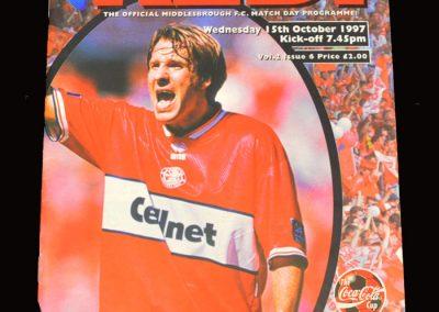 Middlesbrough v Sunderland 15.10.1997 - League Cup 3rd Round
