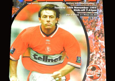 Middlesbrough v Bolton 18.11.1997 - League Cup 4th Round