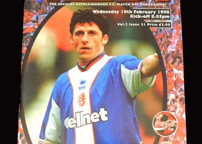 Middlesbrough v Liverpool 18.02.1998 - League Cup Semi Final 2nd Leg