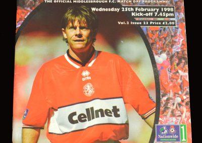Middlesbrough v Crewe 25.02.1998