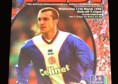 Middlesbrough v Swindon 11.03.1998
