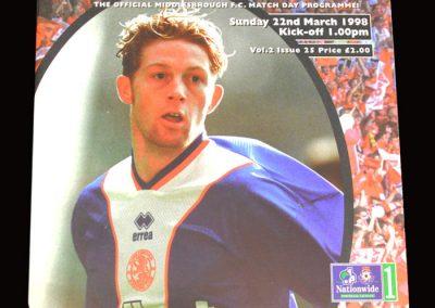 Middlesbrough v Norwich 22.03.1998