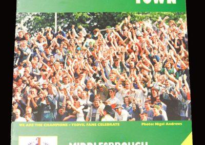 Middlesbrough v Yeovil 20.05.1997 - Friendly