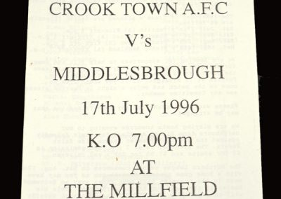 Middlesbrough v Crook Town 17.07.1996 - Friendly