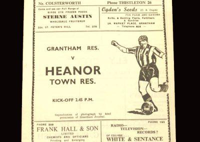 Granthm Reserves v Heanor Town Reserves 31.10.1959