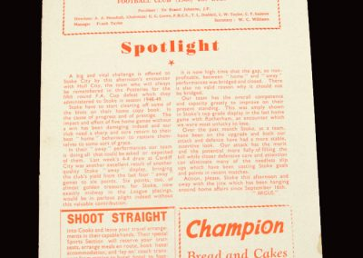 Stoke v Hull 28.11.1959