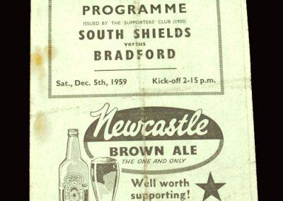 South Shields v Bradford 05.12.1959 - FA Cup 2nd Round