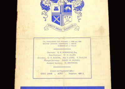 Bury v Bolton 09.01.1960 - FA Cup 3rd Round