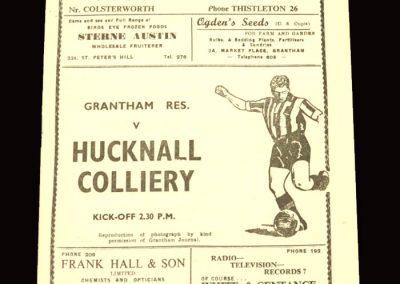 Grantham Reserves v Hucknall 16.01.1960