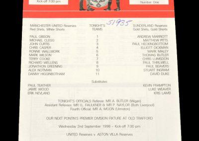 Man Utd Reserves v Sunderland Reserves 20.08.1998
