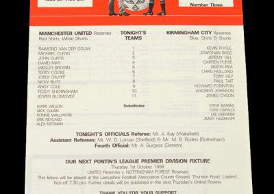 Man Utd Reserves v Birmingham Reserves 17.09.1998