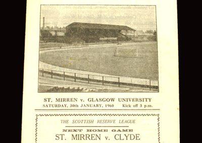 St Mirren v Glasgow University 30.01.1960 (15-0 Baker scores 9)