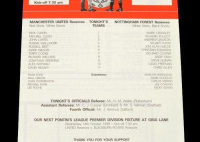 Man Utd Reserves v Notts Forest Reserves 01.10.1998