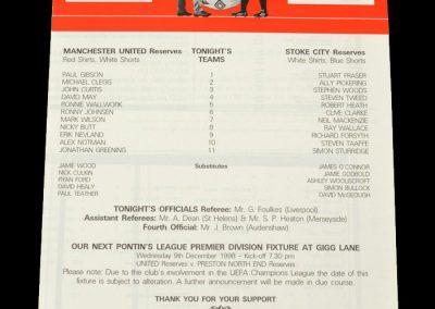 Man Utd Reserves v Stoke Reserves 03.11.1998