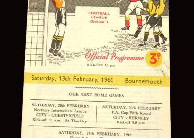 Bradford City v Bournemouth 13.02.1960