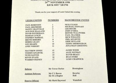 Man Utd Reserves v Leeds Reserves 24.11.1998