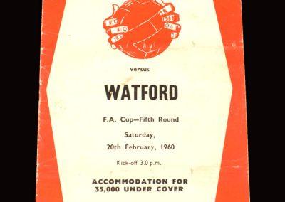 Sheff Utd v Watford 20.02.1960 - FA Cup 5th Round