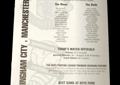 Man Utd Reserves v Birmingham Reserves 03.02.1999