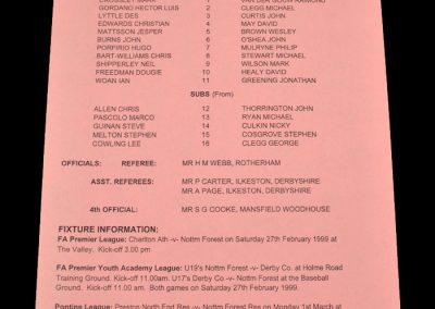 Man Utd Reserves v Notts Forest Reserves 24.02.1999