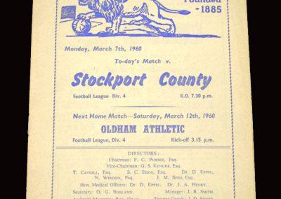 Millwall v Stockport 07.03.1960