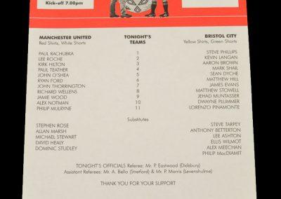 Man Utd U21 v Bristol City U21 19.10.1998