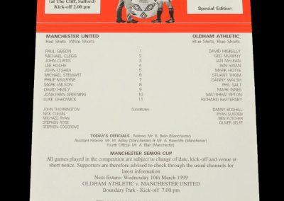 Man Utd v Oldham 02.03.1999 - Manchester Senior Cup