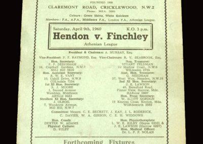 Hendon v Finchley 09.04.1960