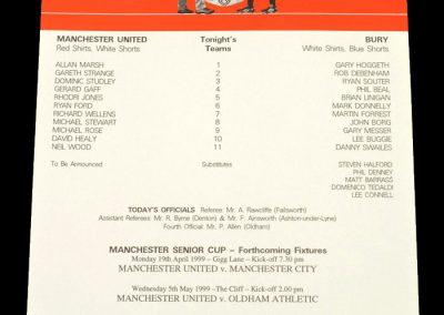 Man Utd v Bury 16.04.1999 - Manchester Senior Cup