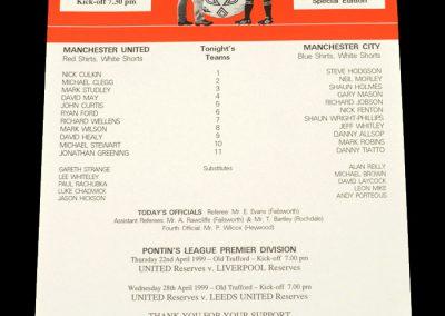 Man Utd v Man City 19.04.1999 - Manchester Senior Cup