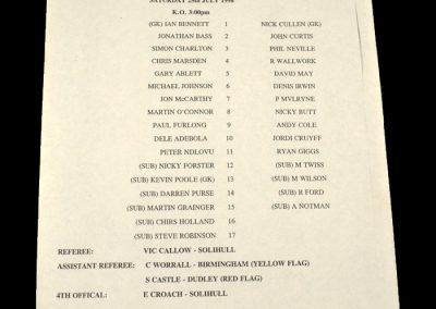 Man Utd v Birmingham 25.07.1998 - Friendly